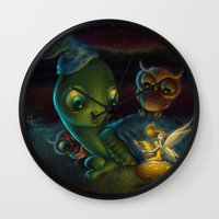 fairy tale Wall Clocks featuring Fairy Tale by Alicia Templin