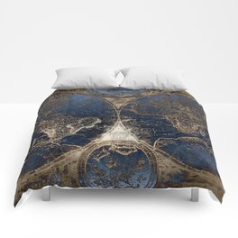 World Map Deep Blue and Gold Comforters