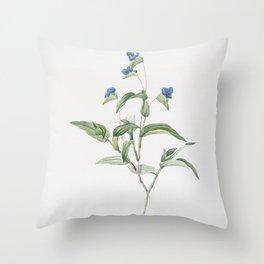 Vintage Blue Spiderwort Illustration Throw Pillow