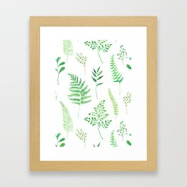greenery watercolor branches pattern Framed Art Print