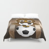 soccer Duvet Covers featuring Soccer Owl by Simone Gatterwe