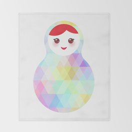 Russian doll matryoshka with bright rhombus on white background, rainbow pastel colors Throw Blanket