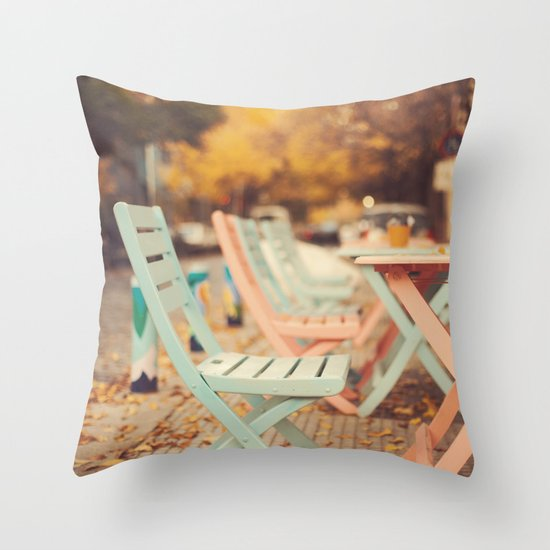 Dream Autumn (Pink and blue coffee shop chairs on retro and vintage fall) Throw Pillow