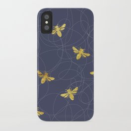 Flying Gold Bees On A Dark Blue Background iPhone Case