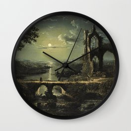 Classical Masterpiece 'A Ruined Gothic Church beside a River by Moonlight' by Sebastian Pether Wall Clock
