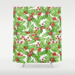 Holly berry watercolor Christmas pattern Shower Curtain