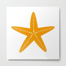 Starfish (Orange & White) Metal Print