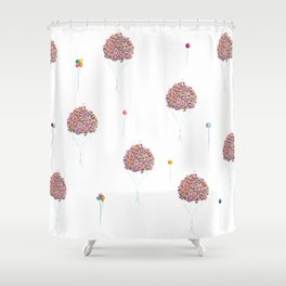Balloons Watercolor Pattern Shower Curtain