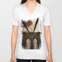 bridge V-neck T-shirts featuring Bridge by Daniela Battaglioli