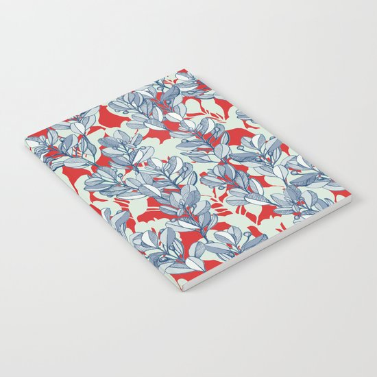 Leaf and Berry Sketch Pattern in Red and Blue Notebook