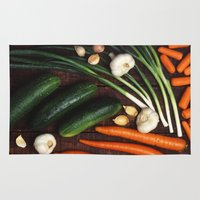 vegetables Area & Throw Rugs featuring Healthy Vegetables  by BravuraMedia