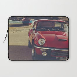 Triumph spitfire, english car by the beach in italy, old car and a boat, for man cave decor Laptop Sleeve