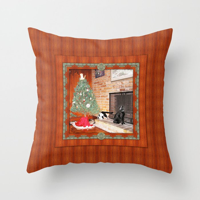 Curious Christmas Cats Throw Pillow