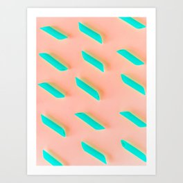 Neon Abstract Pasta Noodles Pattern (Color) Art Print