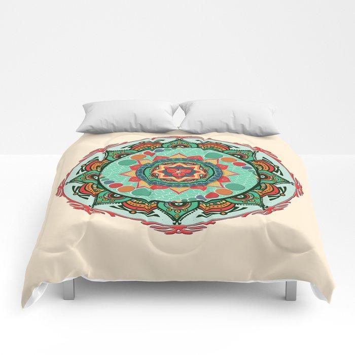 Heart Light Multicolor Mandala Comforters