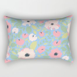 Bright Pink and Blue Floral Anemone Pattern Rectangular Pillow