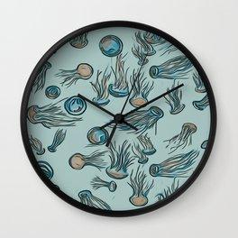 Jumpin' Jellyfish Illustration Wall Clock