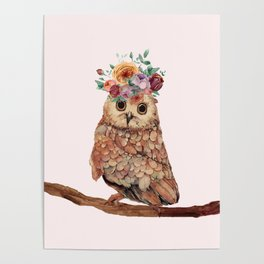 Owl with Flowers Poster