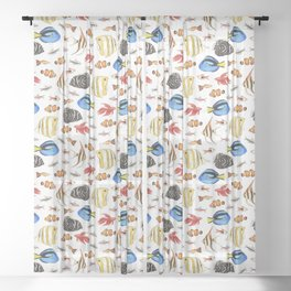 Tropical Fish on White - pattern Sheer Curtain