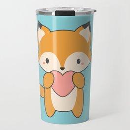 Kawaii Cute Fox With Hearts Travel Mug