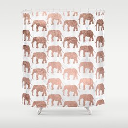Modern faux rose gold elephants white marble Shower Curtain