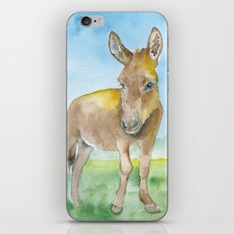 Donkey Watercolor Painting iPhone Skin