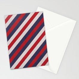 Red, Navy Blue & White Stripes Pattern Stationery Cards