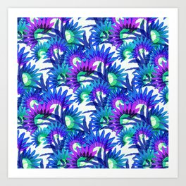 Exotic violet tropical leaves pattern Art Print