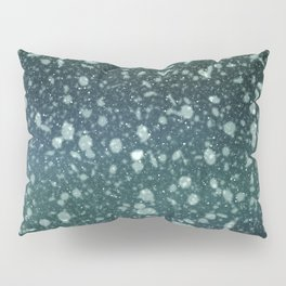 Green blue snowing background Pillow Sham