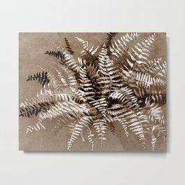 Fern, floral art, brown scale, monochrome Metal Print