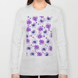 Modern purple lavender watercolor floral pattern Long Sleeve T-shirt