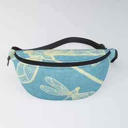 Abstract dragonflies in yellow on textured blue Fanny Pack
