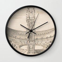 Vintage Roman Colosseum Illustrative Diagram Wall Clock