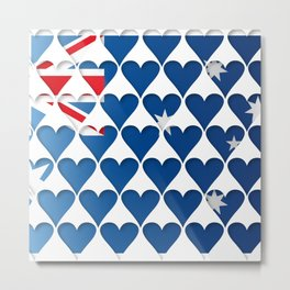 Australia Hearts Flag Flag Cool Modern Graphic Art Illustration Metal Print