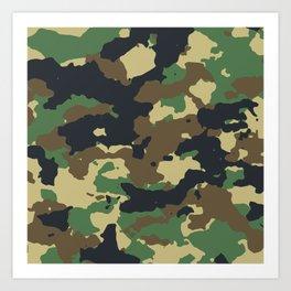 Camouflage green brown camo pattern Art Print