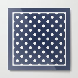 Dark Indigo Polka Dots Palm Beach Preppy Metal Print