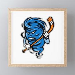 Tornado Ice Hockey Player Mascot Framed Mini Art Print
