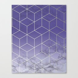 Geometric Marble Ultraviolet Purple Gold Canvas Print