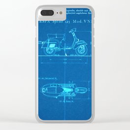 Motor Scooter Patent - Blueprint Style Clear iPhone Case
