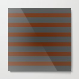 Brown Cinnamon Stripes on Gray Background Metal Print