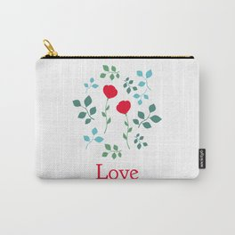 Love typography, two roses. Carry-All Pouch