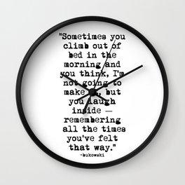 Charles Bukowski Typewriter Quote Morning Wall Clock