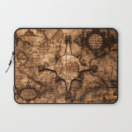 Antique World Map & Compass Rose Laptop Sleeve