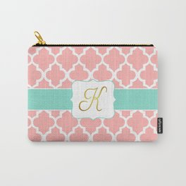 """Pink Quatrefoil with """"K"""" Monogram Carry-All Pouch"""