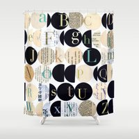 alphabet Shower Curtains featuring Alphabet by maria carluccio