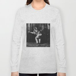 Naked woman bound with old iron shackles Long Sleeve T-shirt