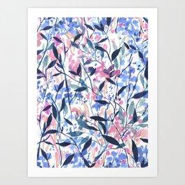 Wandering Wildflowers Blue Art Print