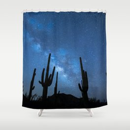 Milky Way, Dreams and Succulents Shower Curtain