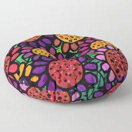 Playful Posies - Vase of Whimsical Flowers Floor Pillow