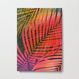 COLORFUL TROPICAL LEAVES no4 Metal Print
